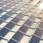 rows of solar PV systems in California