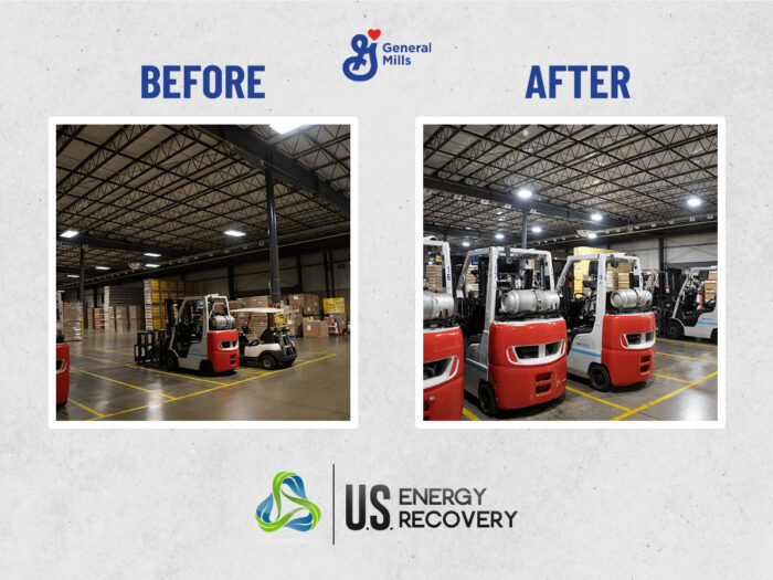 Before and after images of LED lighting project at General Mills in Cedar Rapids, Iowa. Shows area where there are forklifts. Before image is dark, after image is bright and welcoming.