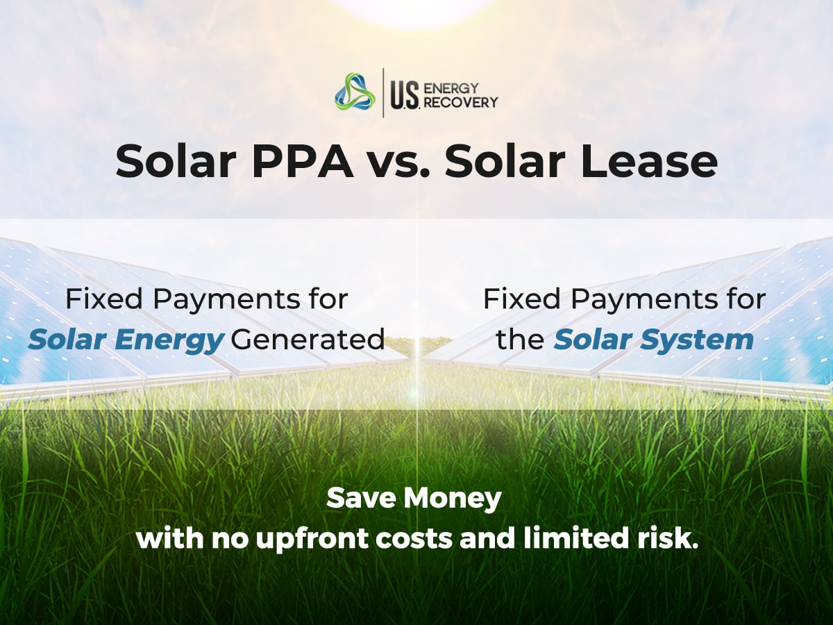 Image of solar panels on grass with sun. Shows differences between solar PPAs and solar leases.