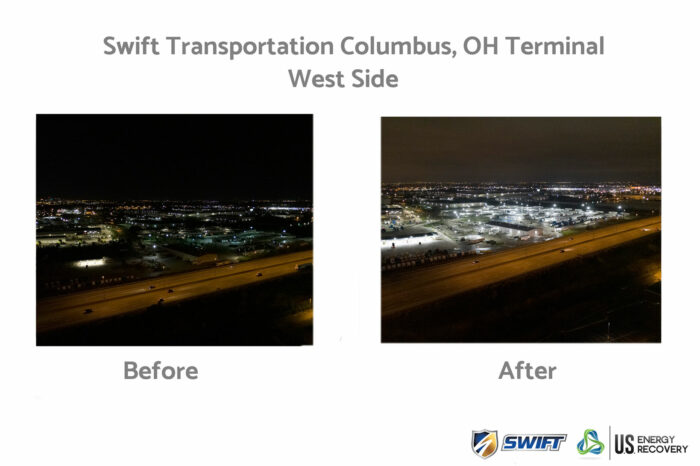 LED parking lot retrofit before and after example