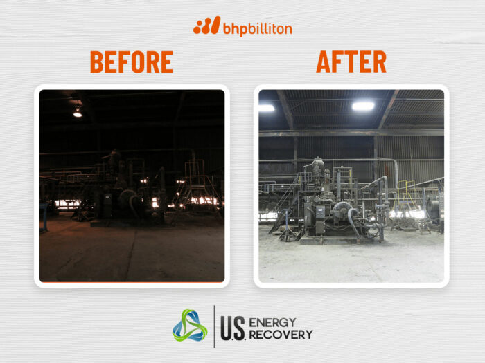 Shows before and after images of lighting project at BHP Billiton in Arizona. Before image is dark, after image is bright and inviting.