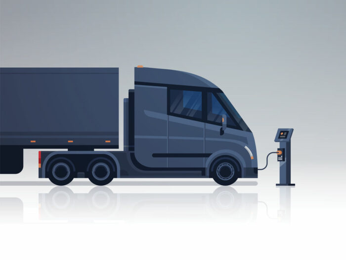 Graphic of EV fleet semi truck being charged