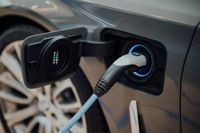 electric vehicle that is plugged in and charging