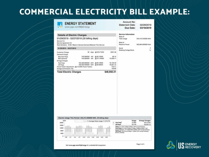 An example electric utility bill from PG&E