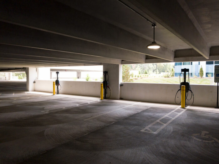 ev charging stations located inside a corporate parking garage