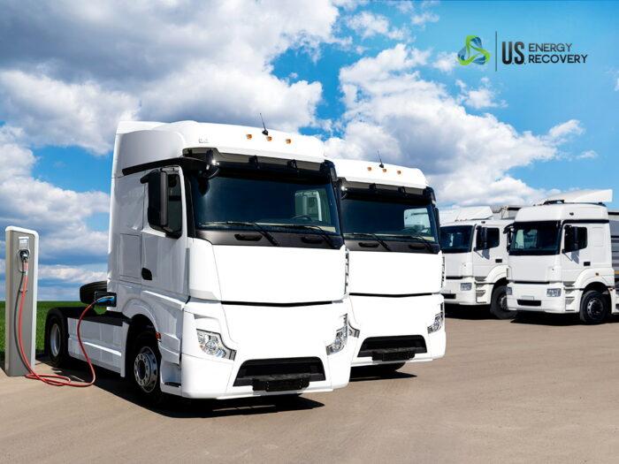 trucks parked facing forward