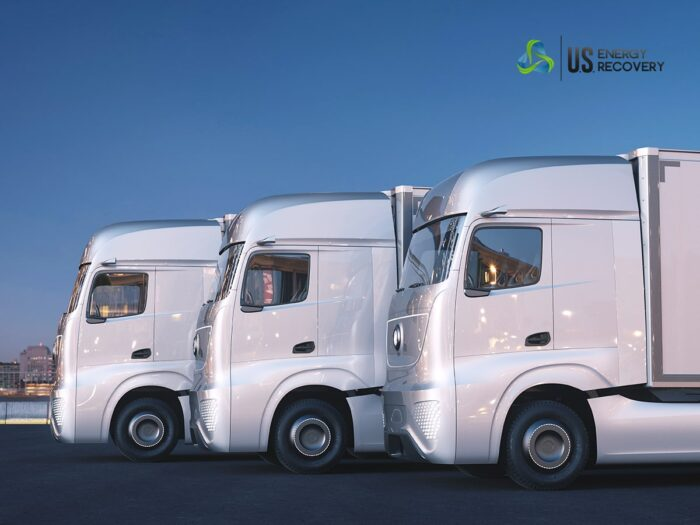 trucks parked sideways